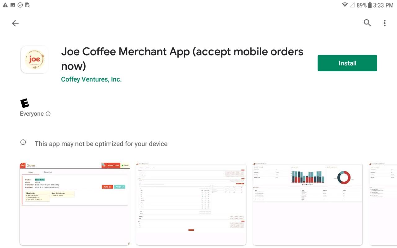Downloading joe Merchant: Android Device
